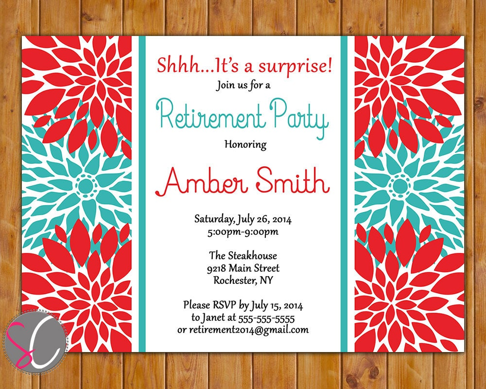 Retirement Party Invite Farewell Celebration Red Teal Floral