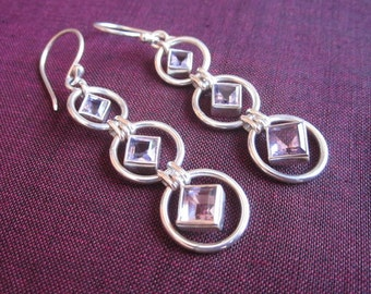 Awesome silver sterling Amethyst gemstones dangle earrings / silver 925 / 2 inches long / Bali handmade jewelry / (#171K)