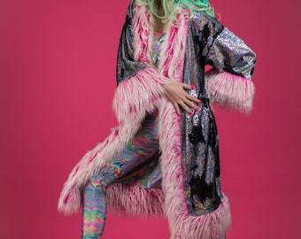 Holographic Dreams Sequin Jacket with pastel pink fur trims