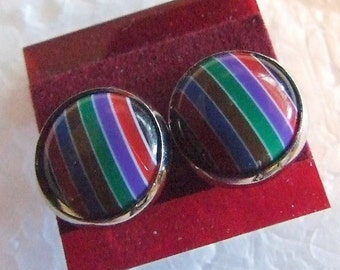 Dark   Rainbow  12 mm Post Earrings