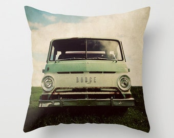 Throw Pillow Cover Dodge Van Truck Mint Green Brown Cream Vintage Retro Hippie Photo Case Home Bedroom Livingroom Farmhouse Decor
