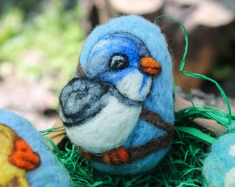 Easter Egg Felted Blue Bird with Pink Blossom Needle Felting Pure Wool, Easter Gift