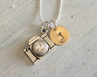 Camera Necklace. Custom Monogram. Hand Stamped. Personalized Photographer gift. Photographer necklace. Camera jewelry. Valentine's Gift