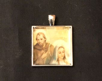 Hand-crafted Christmas card bezel Mary Joseph Holy Family religious pendant necklace jewelry upcycled repurposed