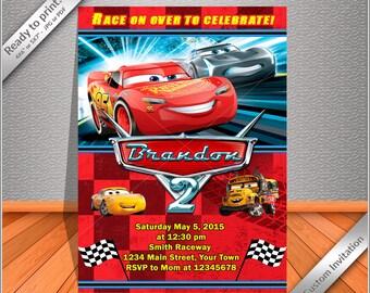 50% OFF SALE - Cars Birthday Invitation, The Lightning MCQUEEN Birthday Party Invitation custom - Free thank you card!