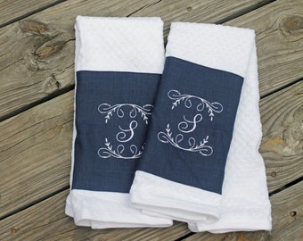 2 Monogrammed Kitchen Towels/ Hand Towels- Colors