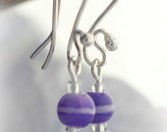 Simple round Purple and white glass bead Eearrings