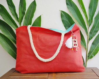 Customizable tote / custom beach tote bags / welcome gift bag / summer purse / coral jute totes