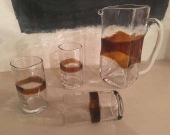 Set of 6 glasses and pitcher - 1970s handblown Murano Glass - italian vintage glassware
