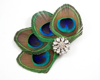 Keen - Peacock feather clip / Bridesmaid fascinator / Peacock feather bridal hair clip