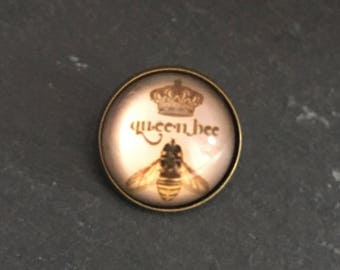Queen Bee Glass Dome Vintage Style Brooch