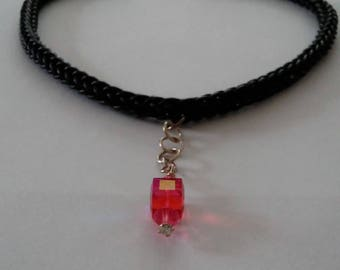 Leather viking weave necklace with Swarovski crystal