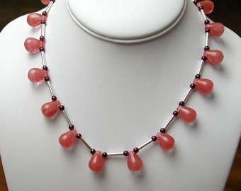 Pink Chalcedony, Garnet and Sterling Silver Necklace.