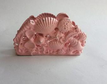 Vintage cast metal pink shells napkin letter holder, shells napkin holder, shells letter holder  -B3