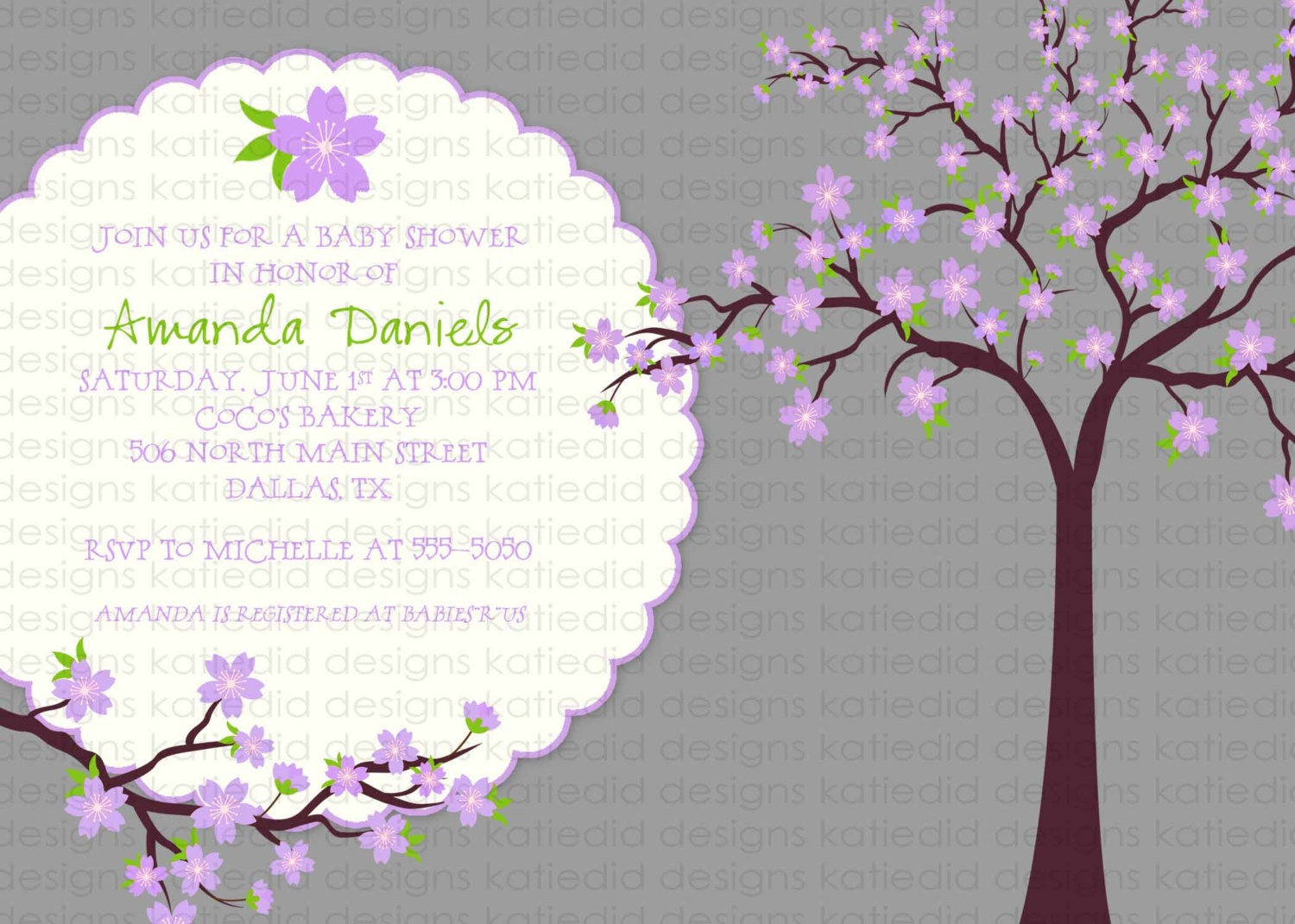 Cherry blossom baby shower invitation first communion memorial ...
