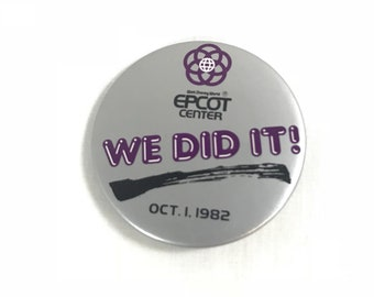 """EPCOT Center We Did It! Button Pin in Gray and Purple from Walt Disney World (2.25"""")"""