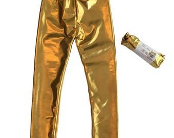 7T Girls Metallic Gold Leggings