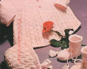 Baby Knitting Pattern pdf Matinee Coat, Bonnet, Bootees