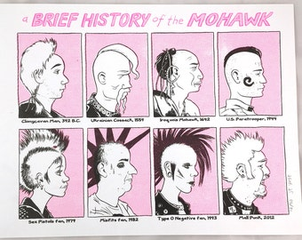 "Risograph print ""A Brief History of The Mohawk"" by J.T. Yost"