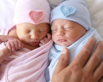 baby boy or baby girl newborn hospital hat, newborn boy or newborn girl newborn hospital hat with crochet heart