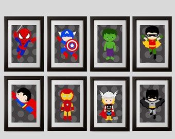 Superhero wall art, super hero wall art, superhero prints, avenger, prints, children wall prints, 8x10, printed, shipped to your door