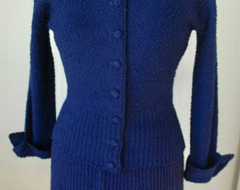 "Vintage ""lass o' Scotland Two Piece Boucle Knit Dress - ""Dreams of Navy Blue Night Skies"" - SALE"