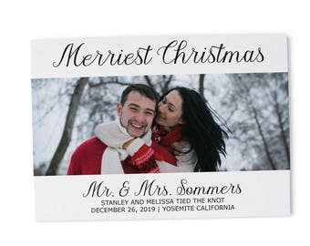 Merriest Christmas Elopement Announcement Cards, Christmas, Holiday Wedding Elopement Card, Announcement Cards 216