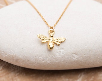 Gold Bee Necklace/Bee Necklace/Tiny Bee Necklace/Bumble Bee Necklace