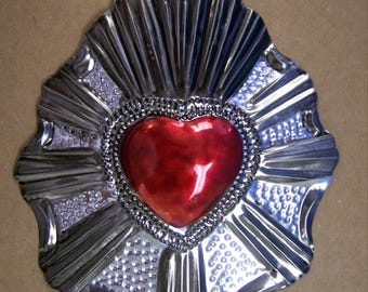 Large Painted Sacred Heart Milagro Ex Voto - Dark Gray & Red #1 - Mexico