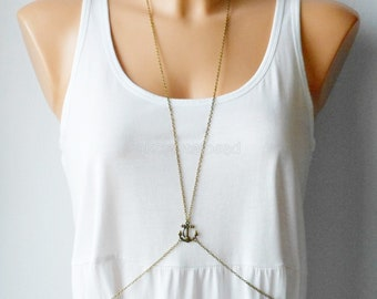 Antique bronze anchor body chain harness jewellery,Summer jewelry,Chain jewelry,Jewelry for summer,Body jewelry,Gift for her,Body harness