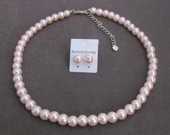 Wedding Pink Pearls Necklace Earrings Jewelry,Pearl Jewelry Set, Stud Earrings,Wedding Jewelry,Bridesmaid Gift,Bridal Set, Free Shipping USA