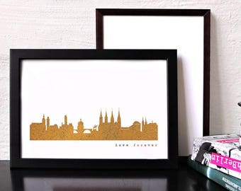"""Unique BAMBERG """"Love Forever"""" Honeymoon Poster, pink gold BAMBERG skyline, modern hygge artwork, BAMBERG art print, wedding favor engagement"""