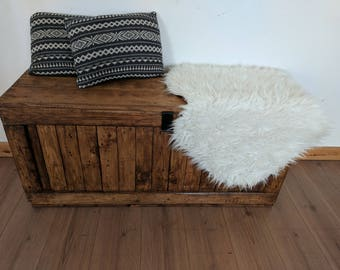 Rustic Wooden Storage Trunk Storage Chest Storage Bench Handmade From Reclaimed Wood Made to Order
