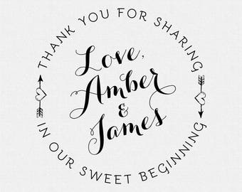 Custom Our Sweet Beginning Stamp, Wedding Favor, Thank You Stamp, Self Inking Stamp, Wood Handle, Circle Stamp, Personalized (T146)