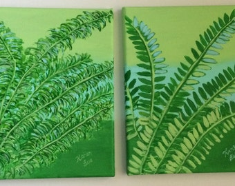 2 Acrylic Paintings of Green and Blue Fern