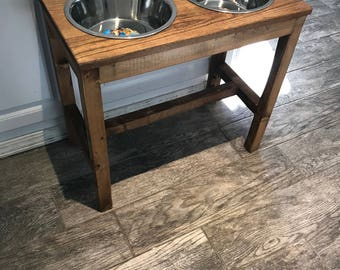 Farmhouse Style Raised Dog Feeder Raised Dog Bowl Stand Elevated Dog Bowl Dog Dish Dog Feeder Dog Bowl Feeding Stand Elevated Dog Bowls