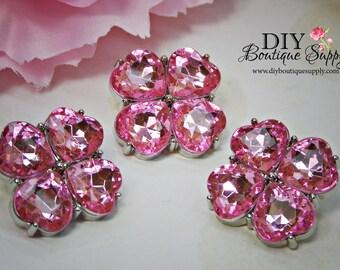 Pink Rhinestone Buttons Pink Crystal Buttons Flower center Buttons Hair Bow Buttons 23 mm Embellishments Scrapbooking Headband button 814035