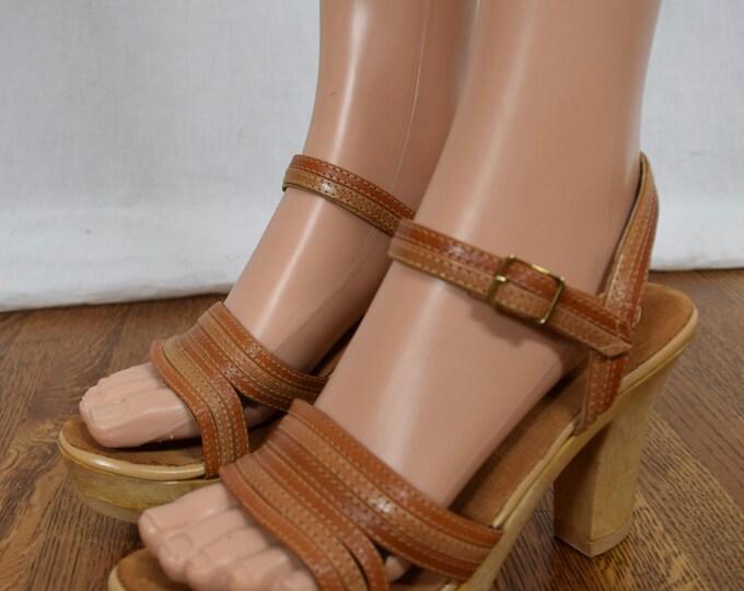 Nos Vintage 1970's Women's SBICCA Woodgrain Brown Leather Disco PLaTfOrM HiPPiE BoHo Shoes Sandals 8 M - Never Worn