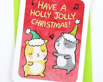 Holly Jolly Christmas Card - Cute Christmas Card, Guinea Pig Christmas Card, Holiday Card, Funny Christmas Card Season's Greetings Xmas Card