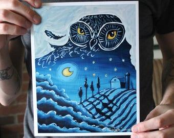 Owl With a Nighttime Landscape; Fine Art Print