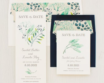 "Save the Dates, Navy, Sage, Mint, Tropical Save the Date Cards, Destination Wedding, Envelope Liners - ""Navy Botanicals"" Save the Dates"