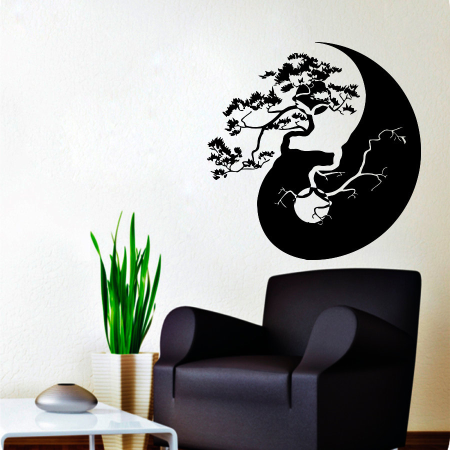 Wall decals tree bonsai decal vinyl sticker yin yang chinese zoom amipublicfo Gallery