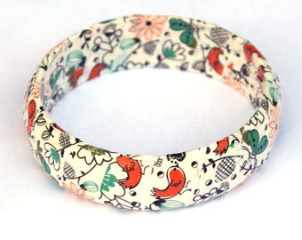 Bird bangle - Chunky bangle - Wooden bangle - washi tape - birds - flowers - butterflies - wooden jewelry