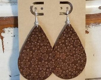 Leather Earrings, Leather Jewelry, Natural Brown, Embossed, Nature, Flowers, Spring, Tear Drop, Statement Earrings, Lightweight