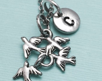 Flock of birds necklace, flock of birds charm, animal necklace, personalized necklace, initial necklace, initial charm, monogram
