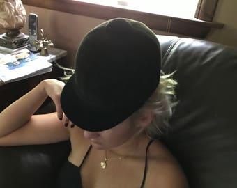English Riding Hat Vintage Black Velvet Equestrian Helmet