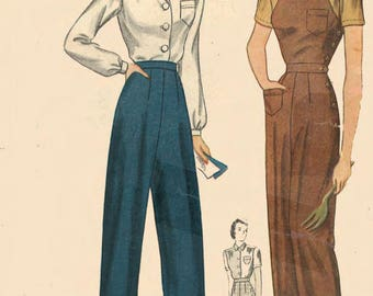 Vintage 1940's Sewing Pattern Land Girl Slacks Blouse & Overalls Rosie The Riveter WWII B 30""