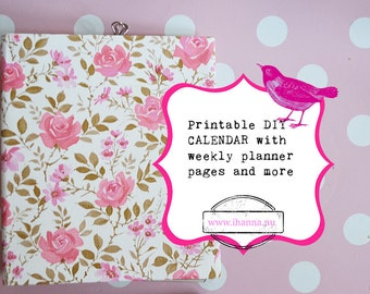 Printable Calendar for Creative Paper Lovers -  digital 55 page PDF file instant download
