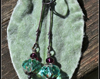 Teal and Purple Earrings with Bronze Leaf Charms handmade gift