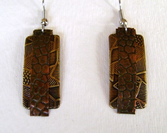 Mix metal jewelry copper brass earrings.